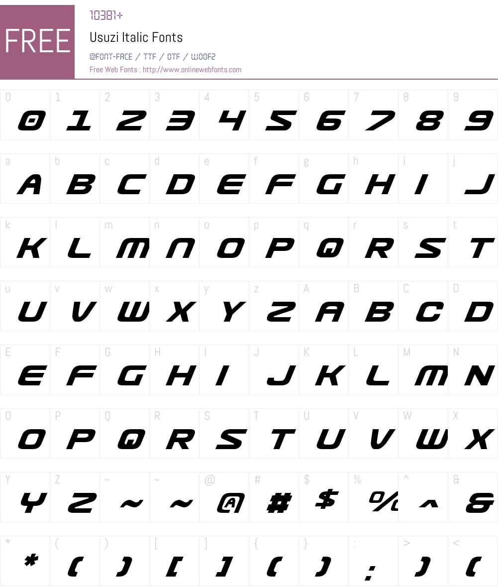 Usuzi Italic Font Screenshots