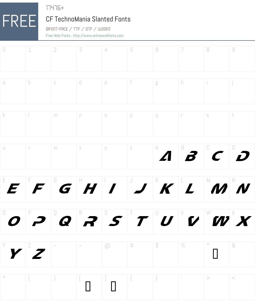 CF TechnoMania Font Screenshots