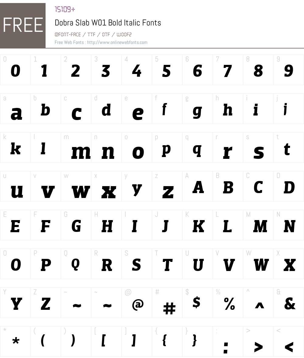 DobraSlabW01-BoldItalic Font Screenshots