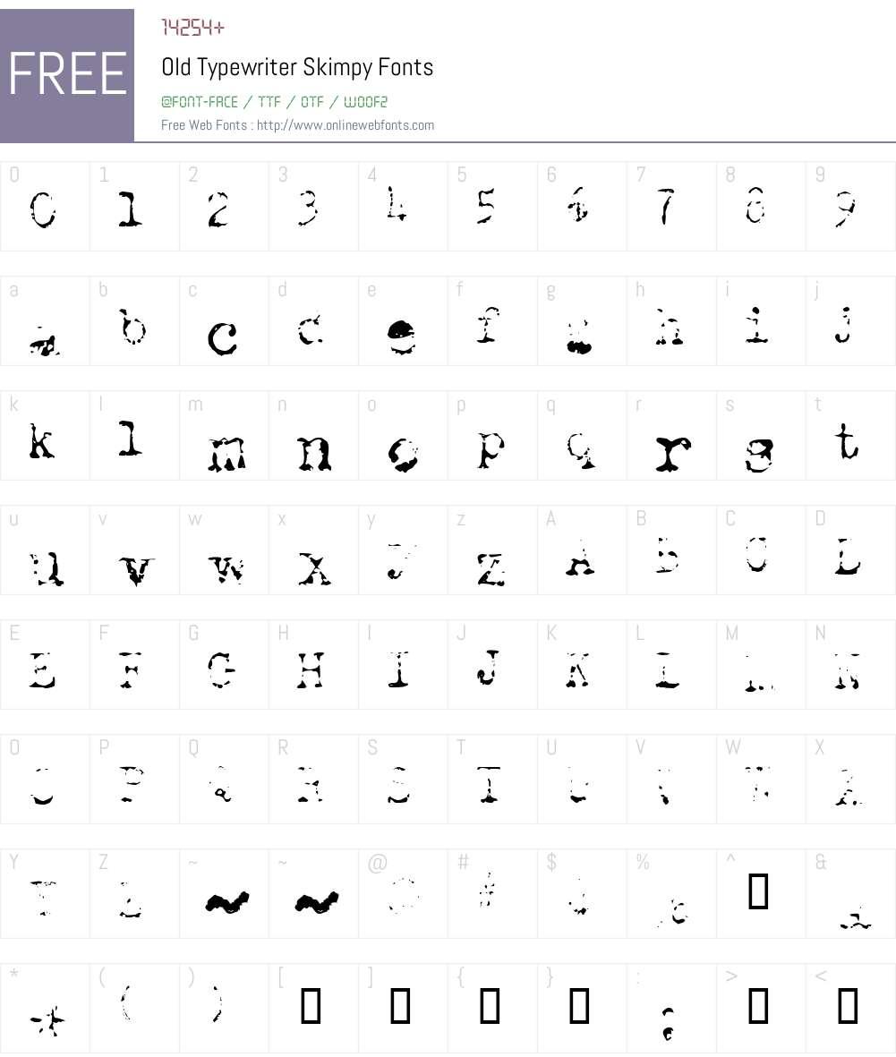 Old Typewriter Font Screenshots