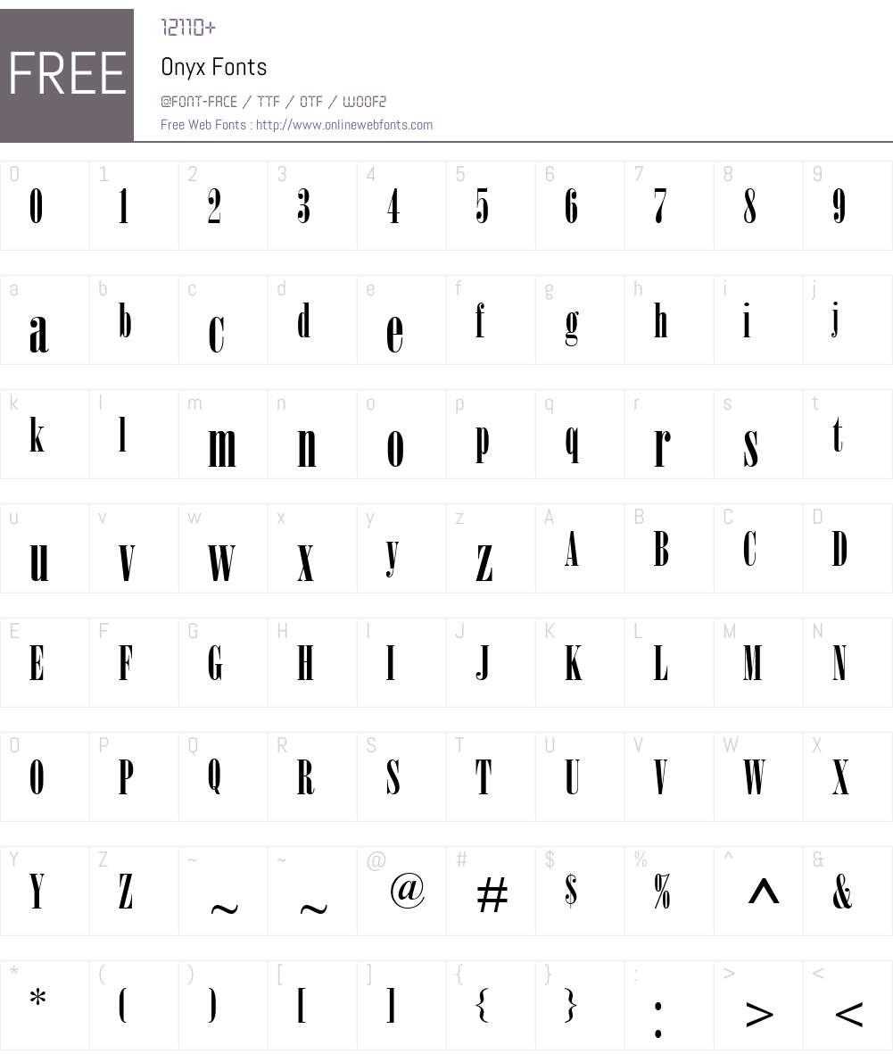 Onyx Font Screenshots
