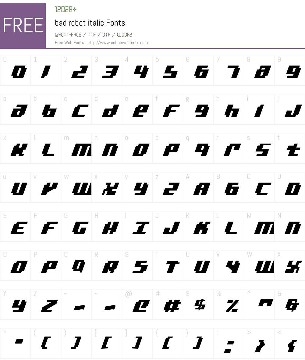 bad robot italic Font Screenshots