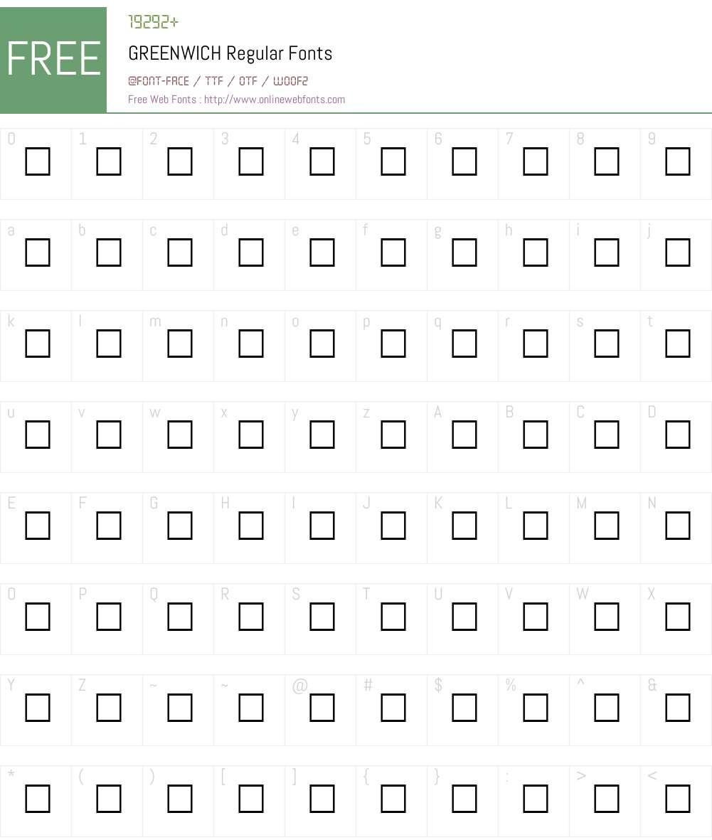 GREENWICH Font Screenshots