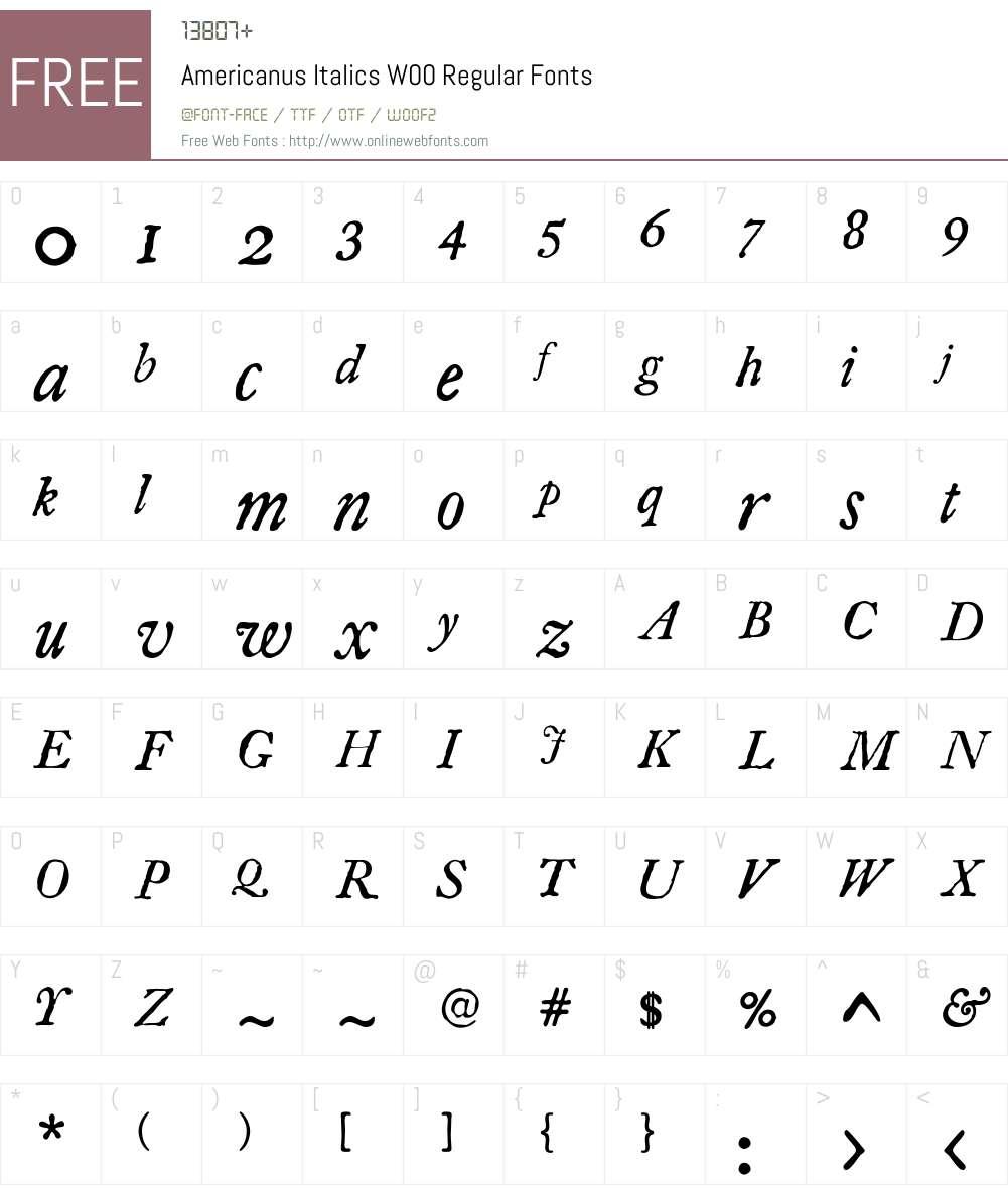 AmericanusItalicsW00-Rg Font Screenshots