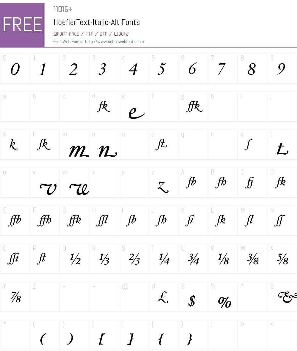 HoeflerText-Italic-Alt Font Screenshots