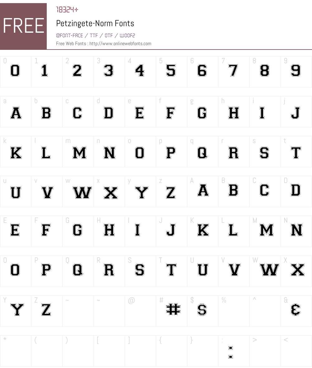 Petzingete-Norm Font Screenshots