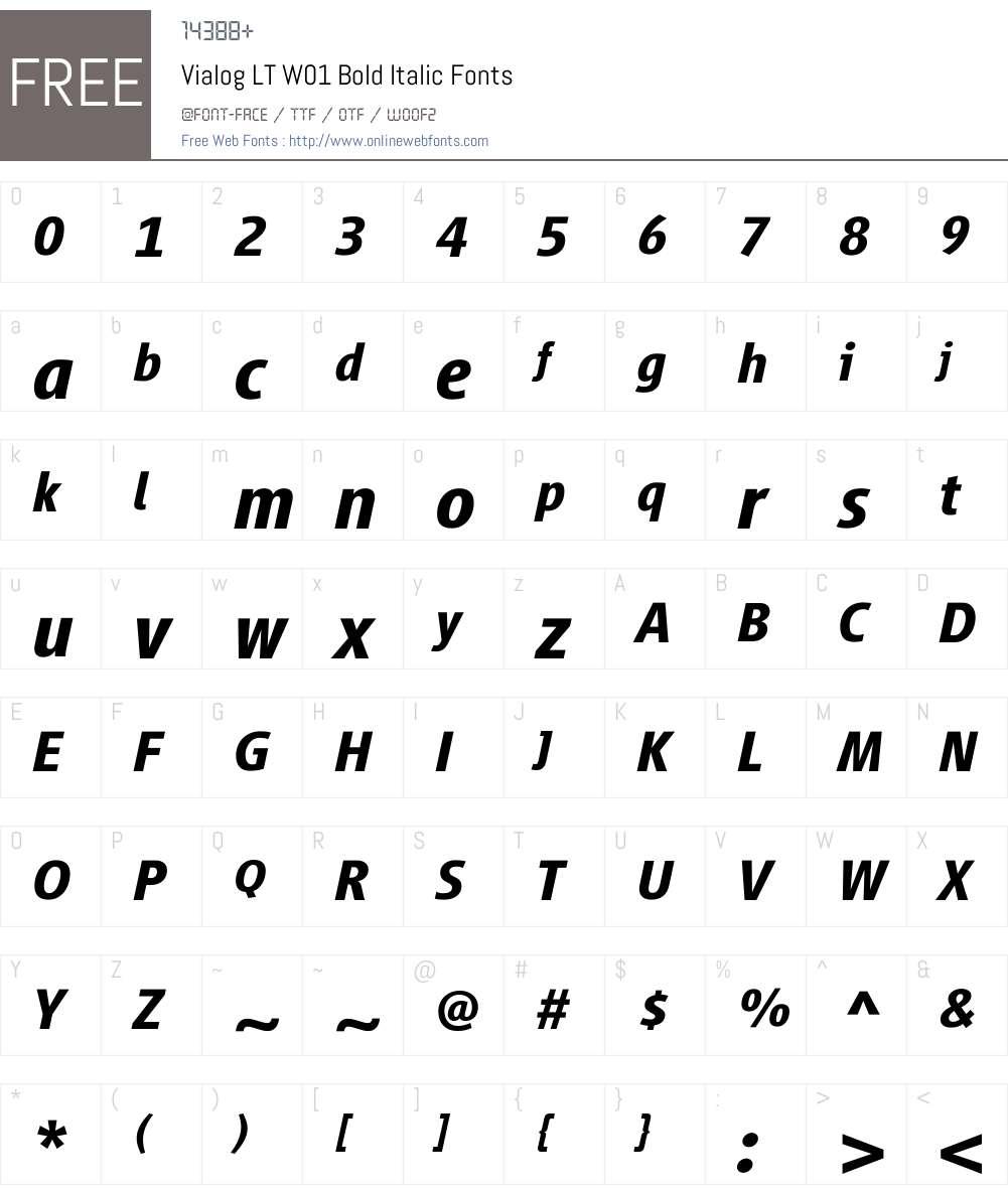 VialogLTW01-BoldItalic Font Screenshots