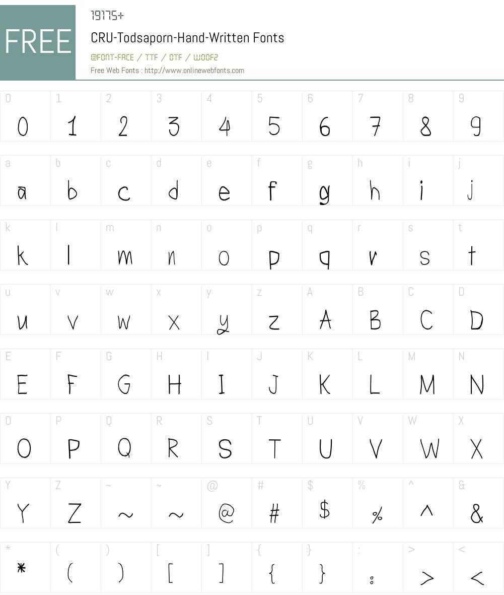 CRU-Todsaporn-Hand-Written Font Screenshots
