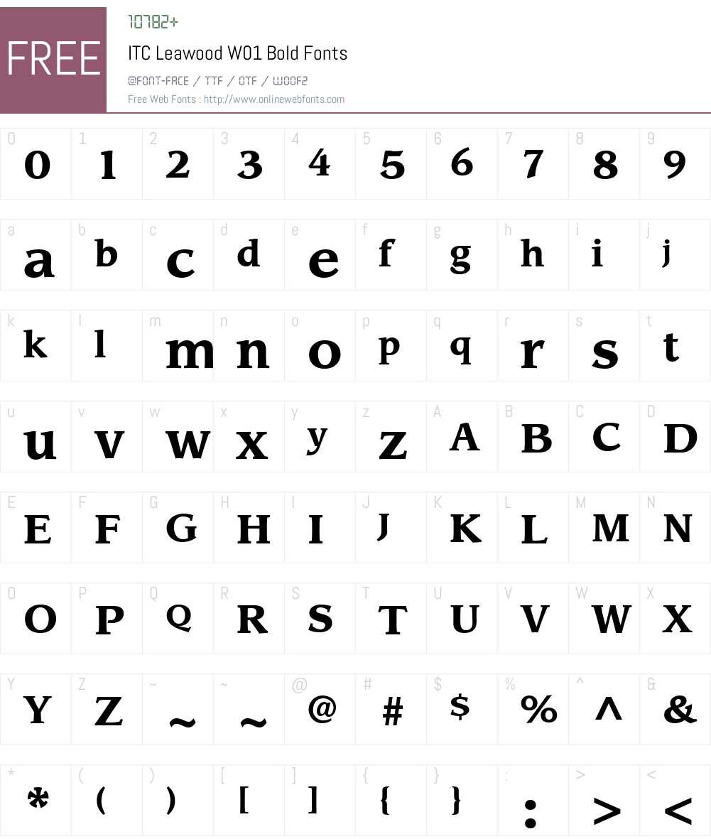 ITCLeawoodW01-Bold Font Screenshots