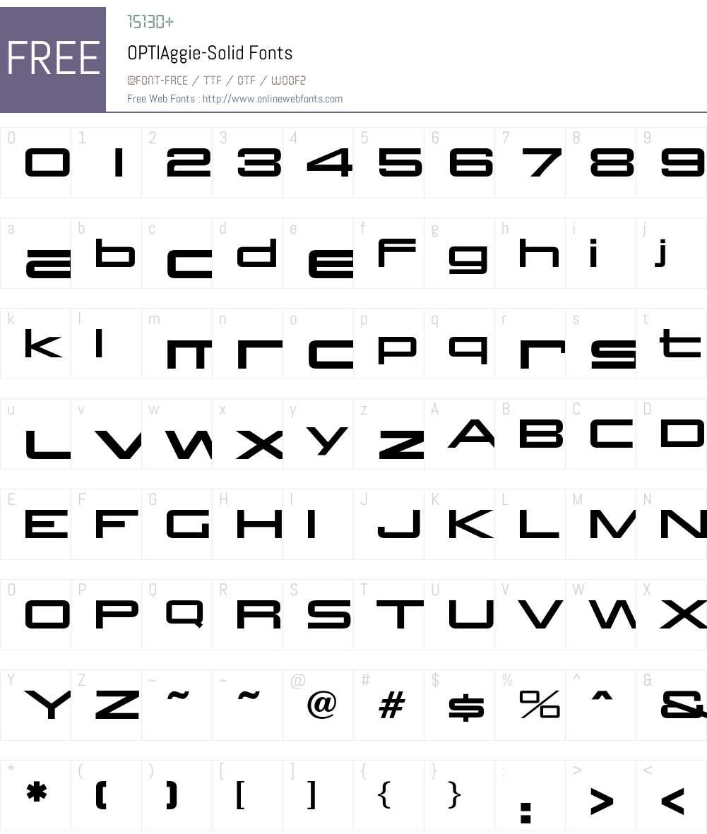 OPTIAggie Font Screenshots
