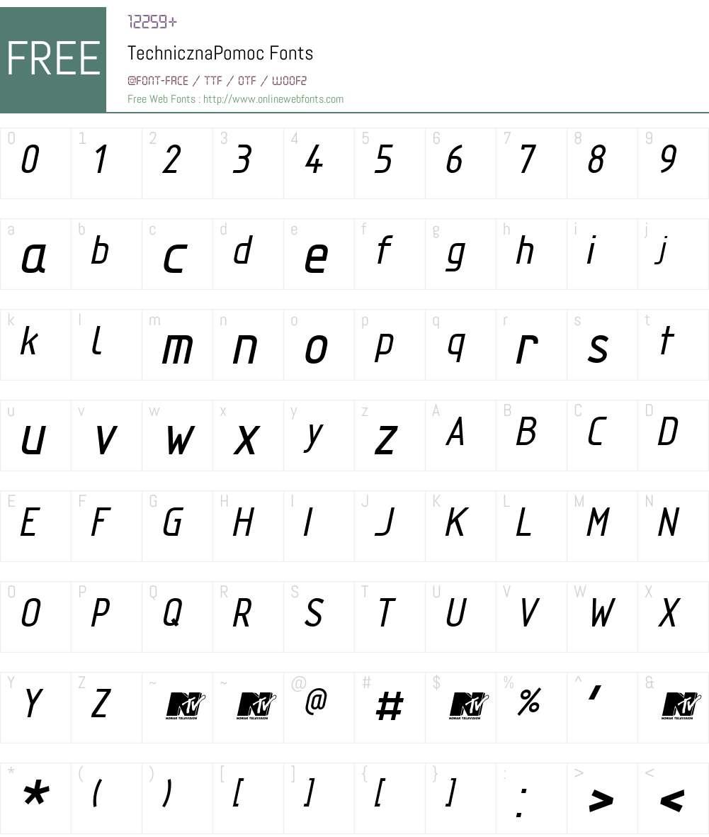 TechnicznaPomoc Font Screenshots