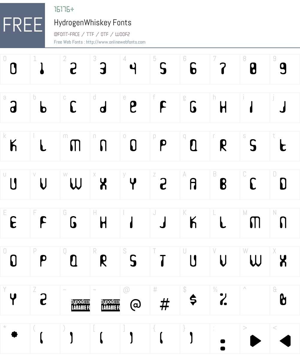 HydrogenWhiskey Font Screenshots