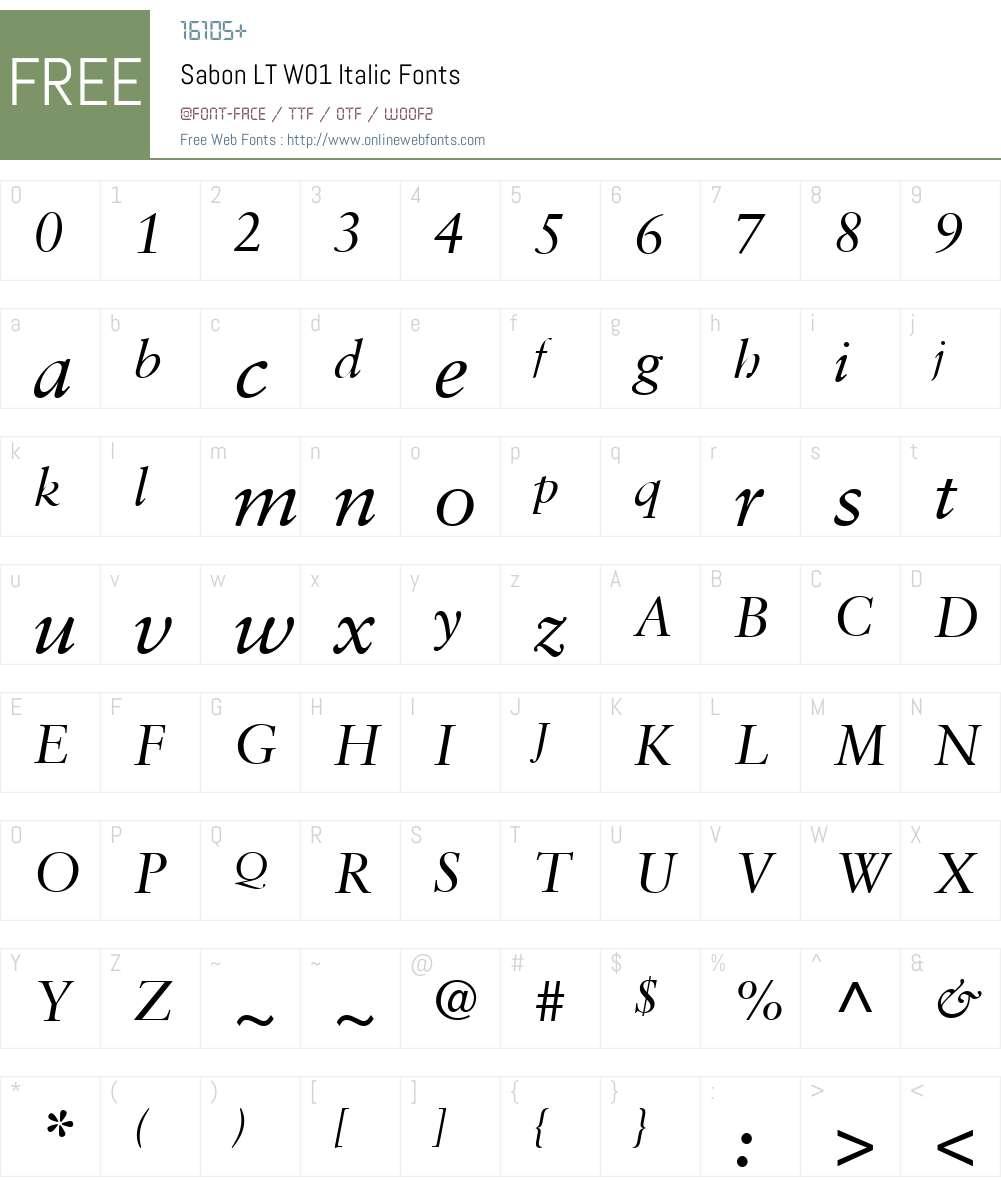 SabonLTW01-Italic Font Screenshots