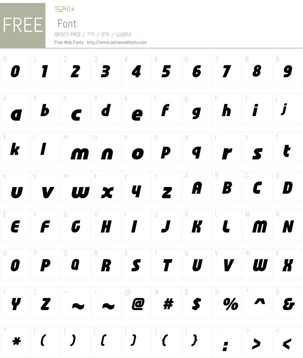 Familian Oblique Font Screenshots