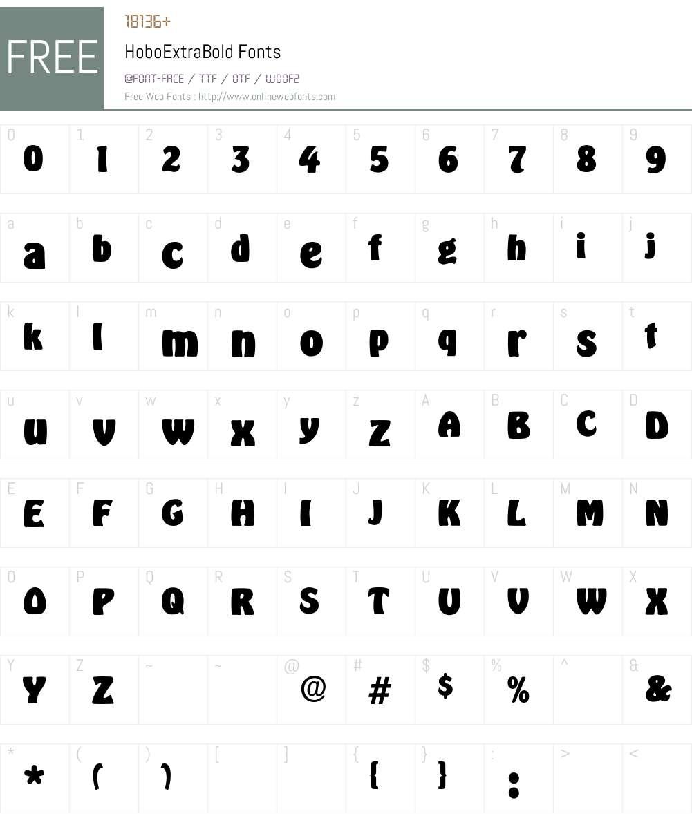 HoboExtraBold Font Screenshots