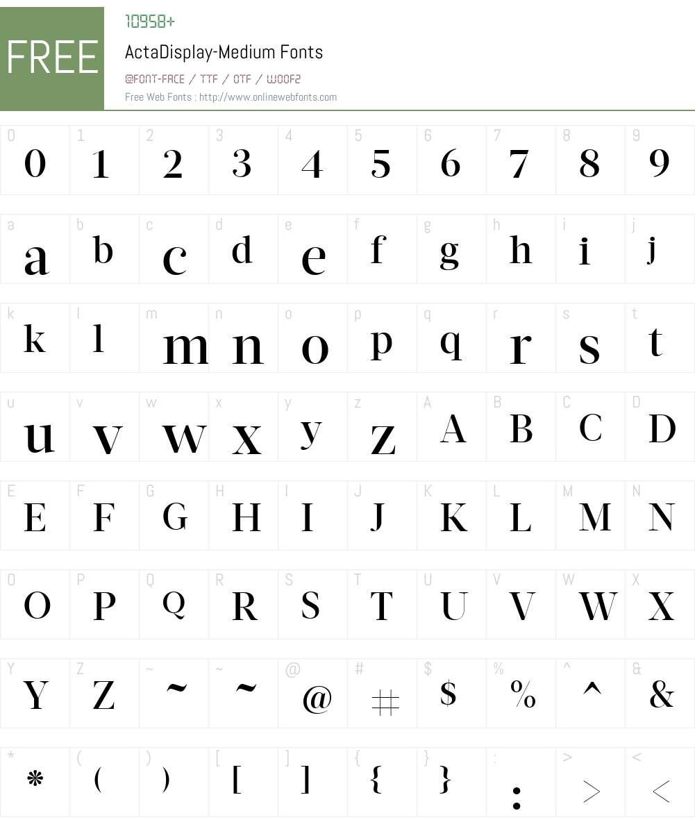 ActaDisplay-Medium Font Screenshots