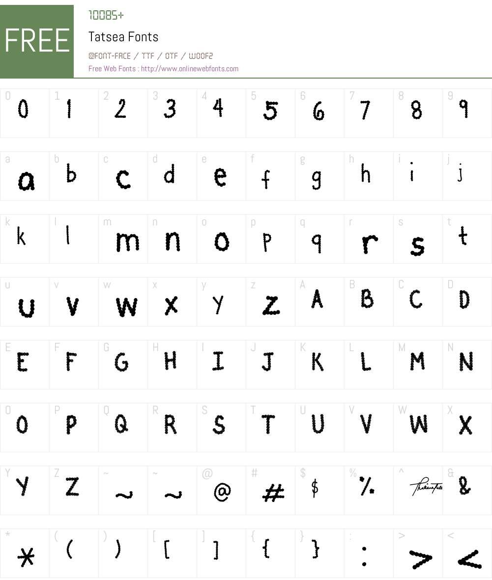 Tatsea Font Screenshots