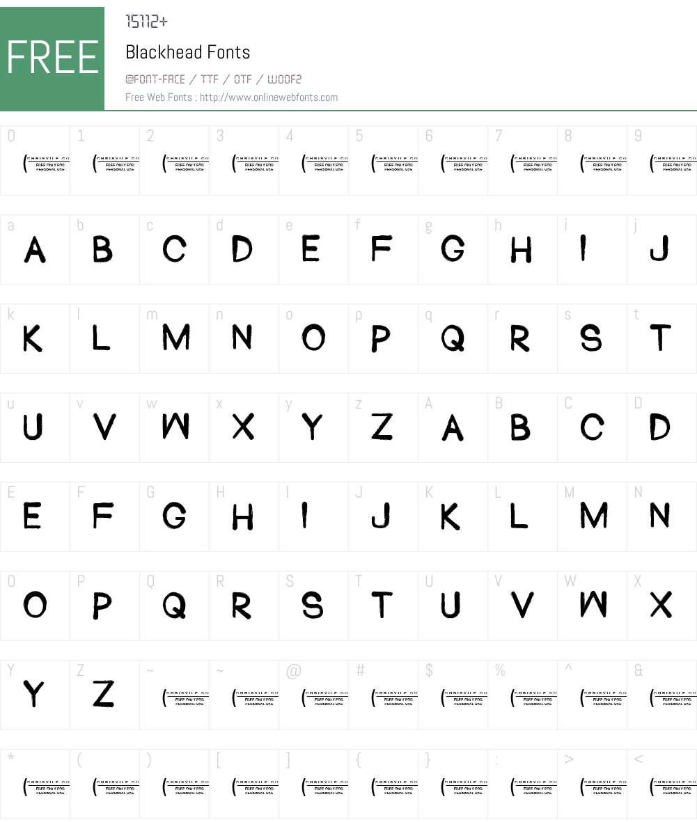 Blackhead Font Screenshots