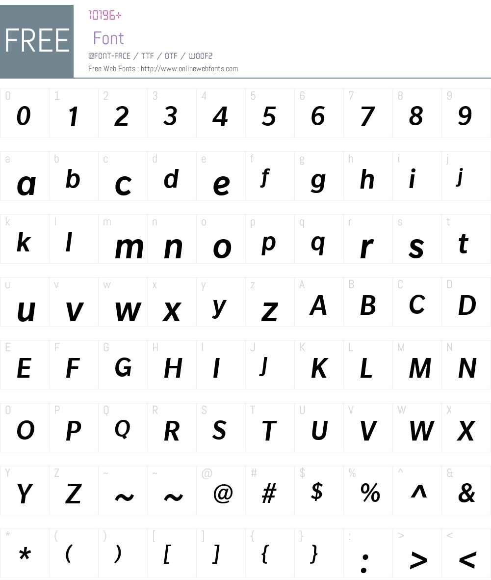 SlateW01-MediumItalic Font Screenshots