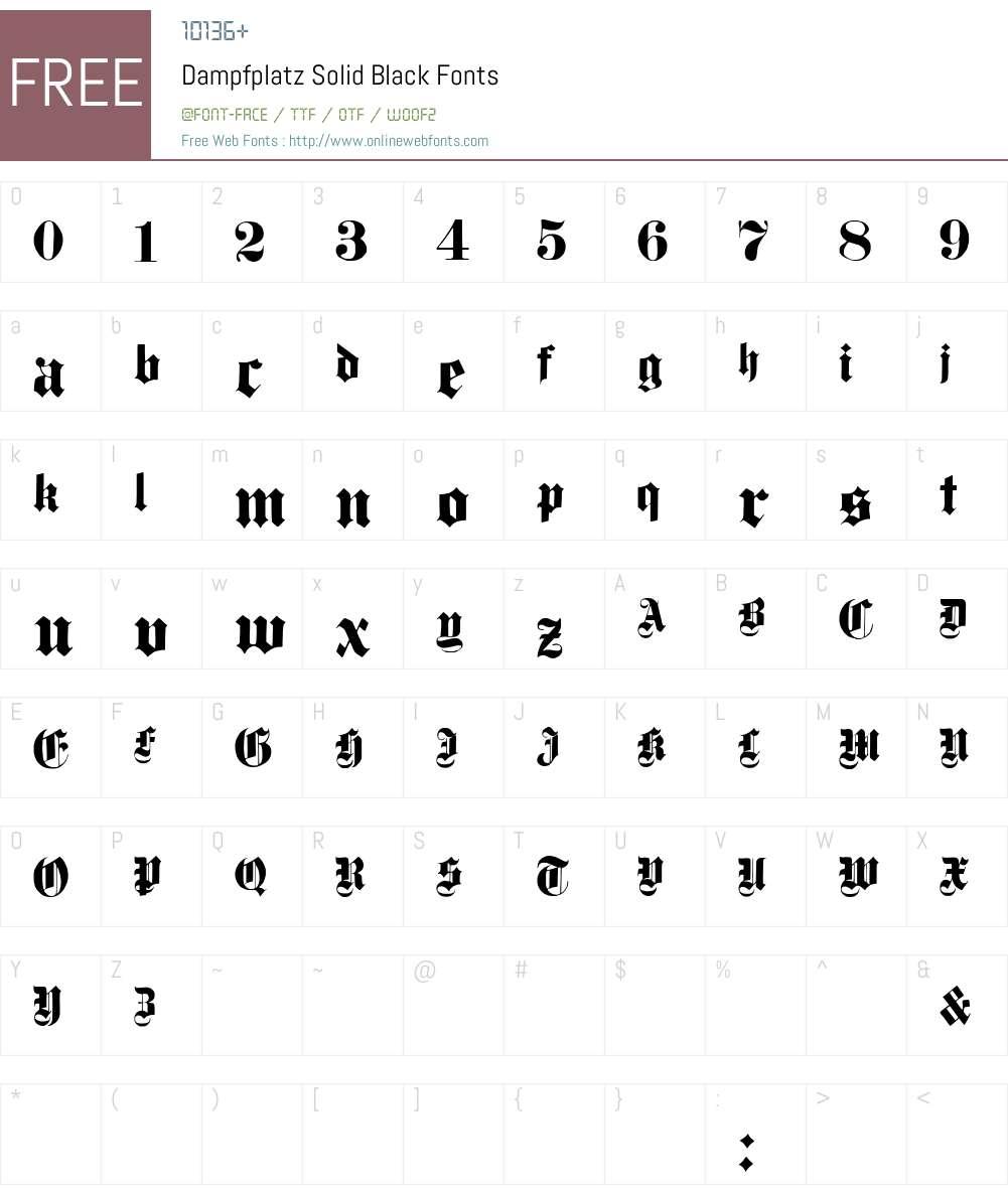 Dampfplatz Solid Font Screenshots