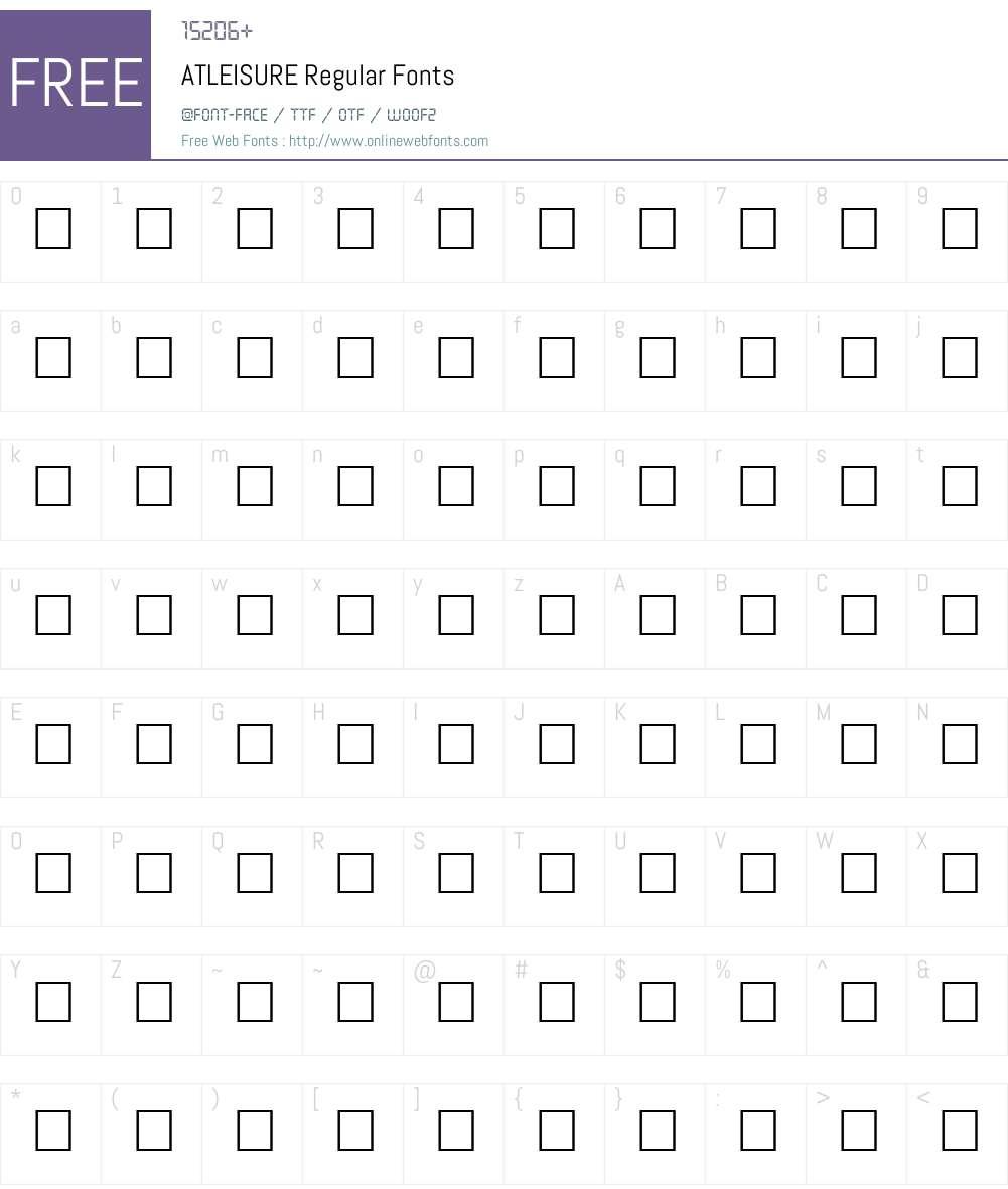ATLEISURE Font Screenshots
