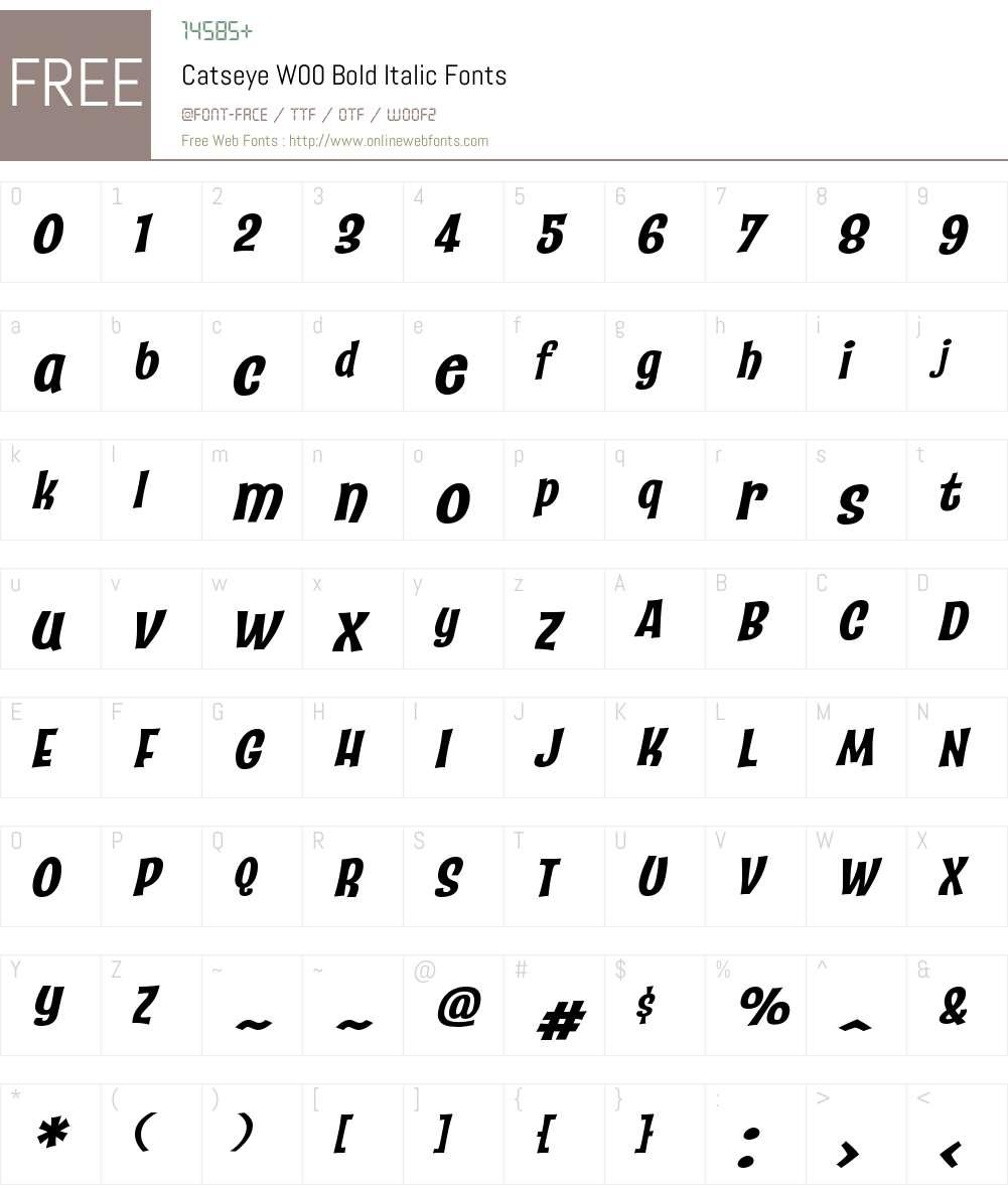 CatseyeW00-BoldItalic Font Screenshots