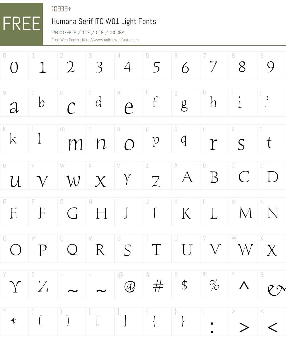 HumanaSerifITCW01-Light Font Screenshots