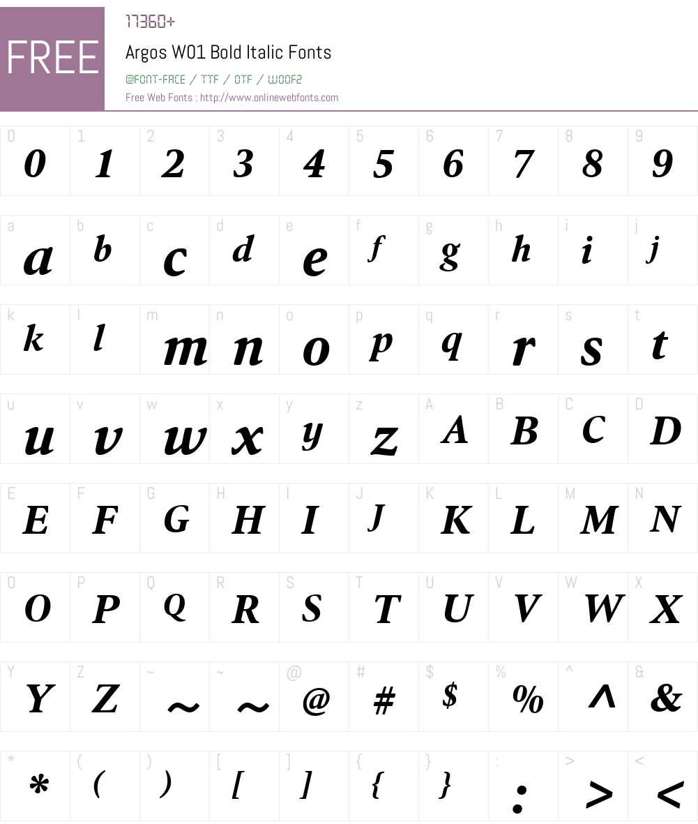 ArgosW01-BoldItalic Font Screenshots