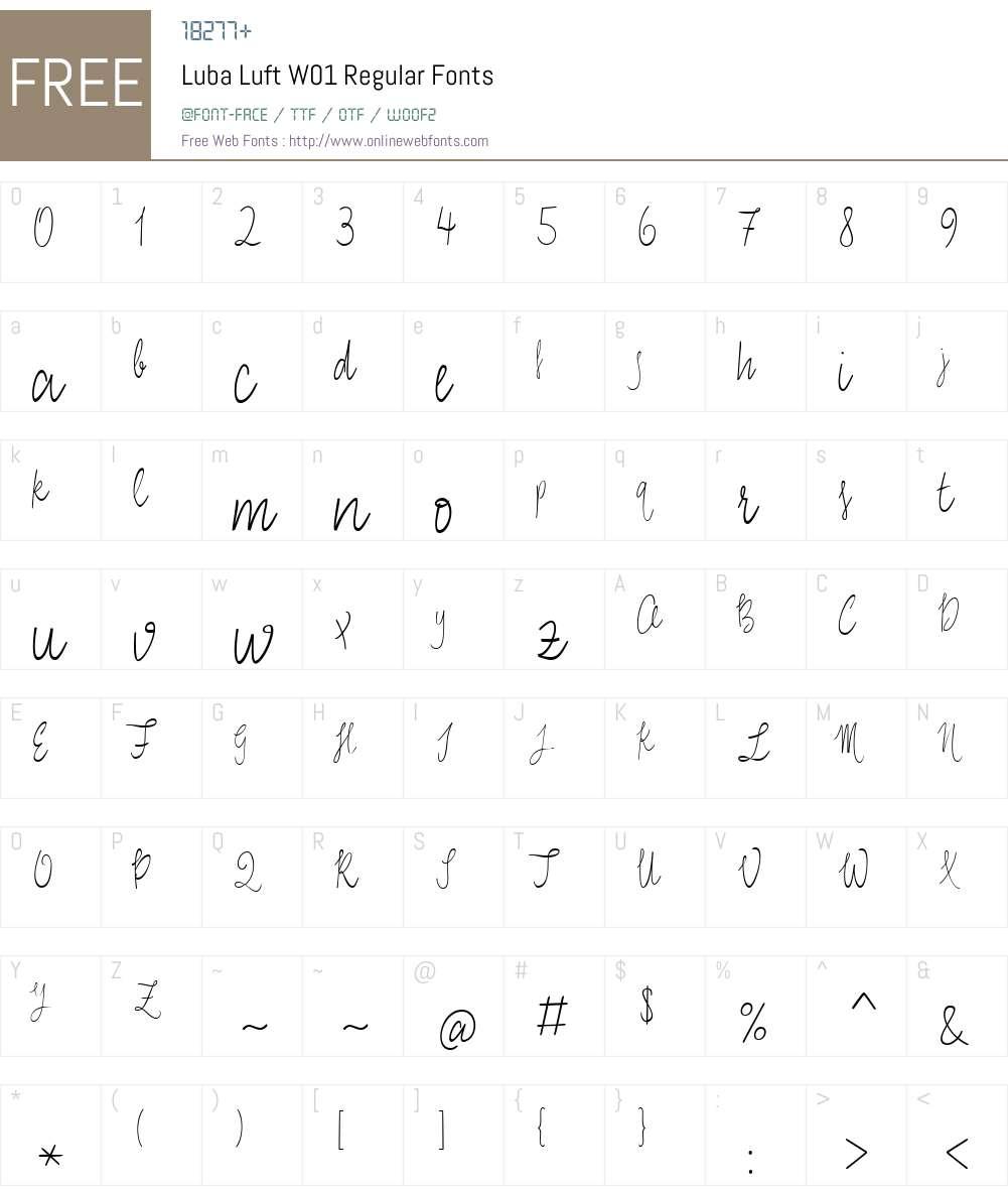 LubaLuftW01-Regular Font Screenshots