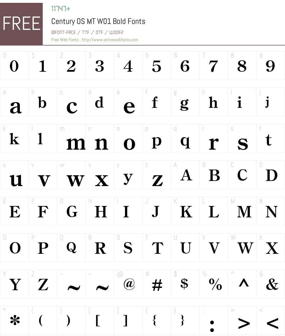 CenturyOSMTW01-Bold Font Screenshots