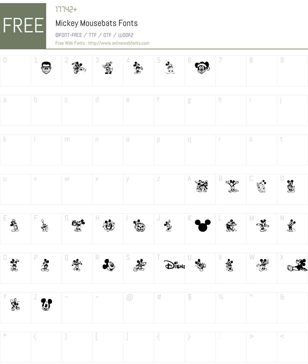 Mickey Mousebats Font Screenshots