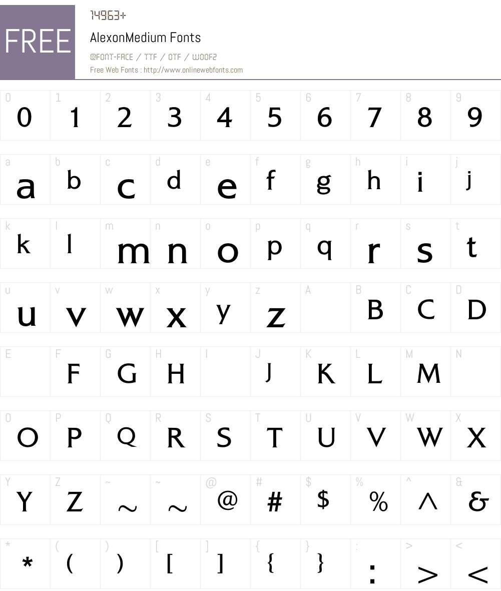 AlexonMedium Font Screenshots