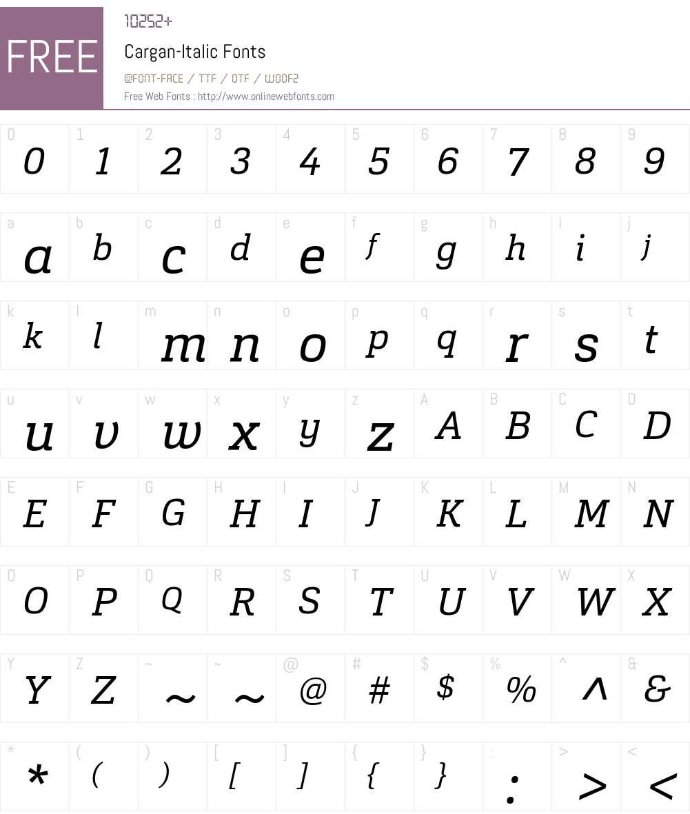 Cargan-Italic Font Screenshots