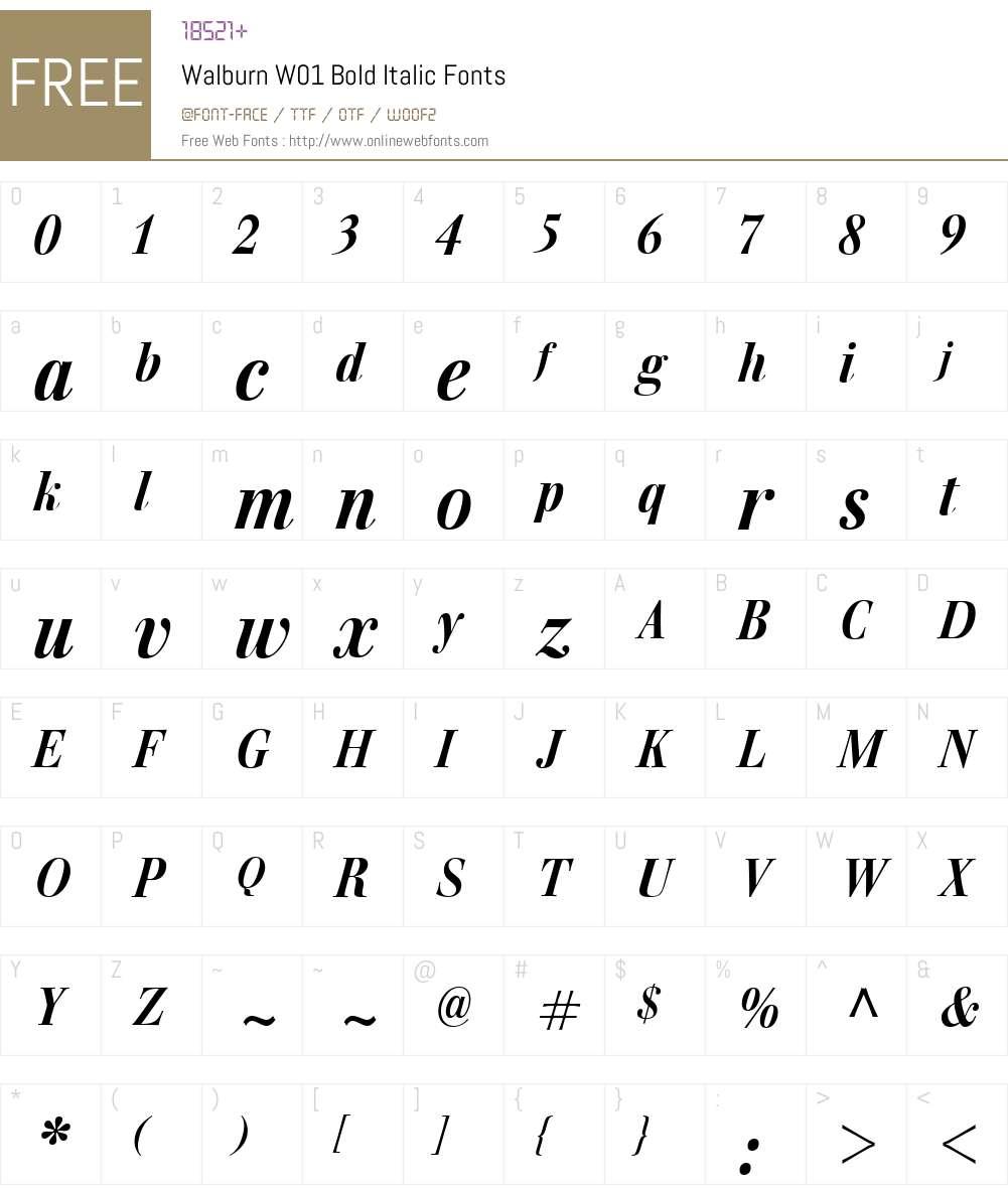 WalburnW01-BoldItalic Font Screenshots