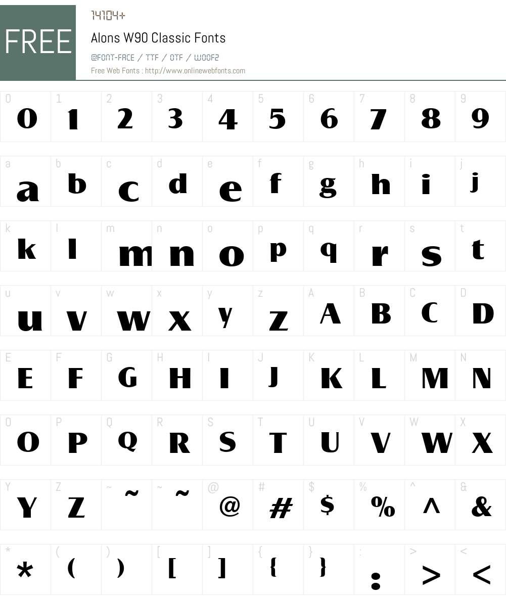 AlonsW90-Classic Font Screenshots
