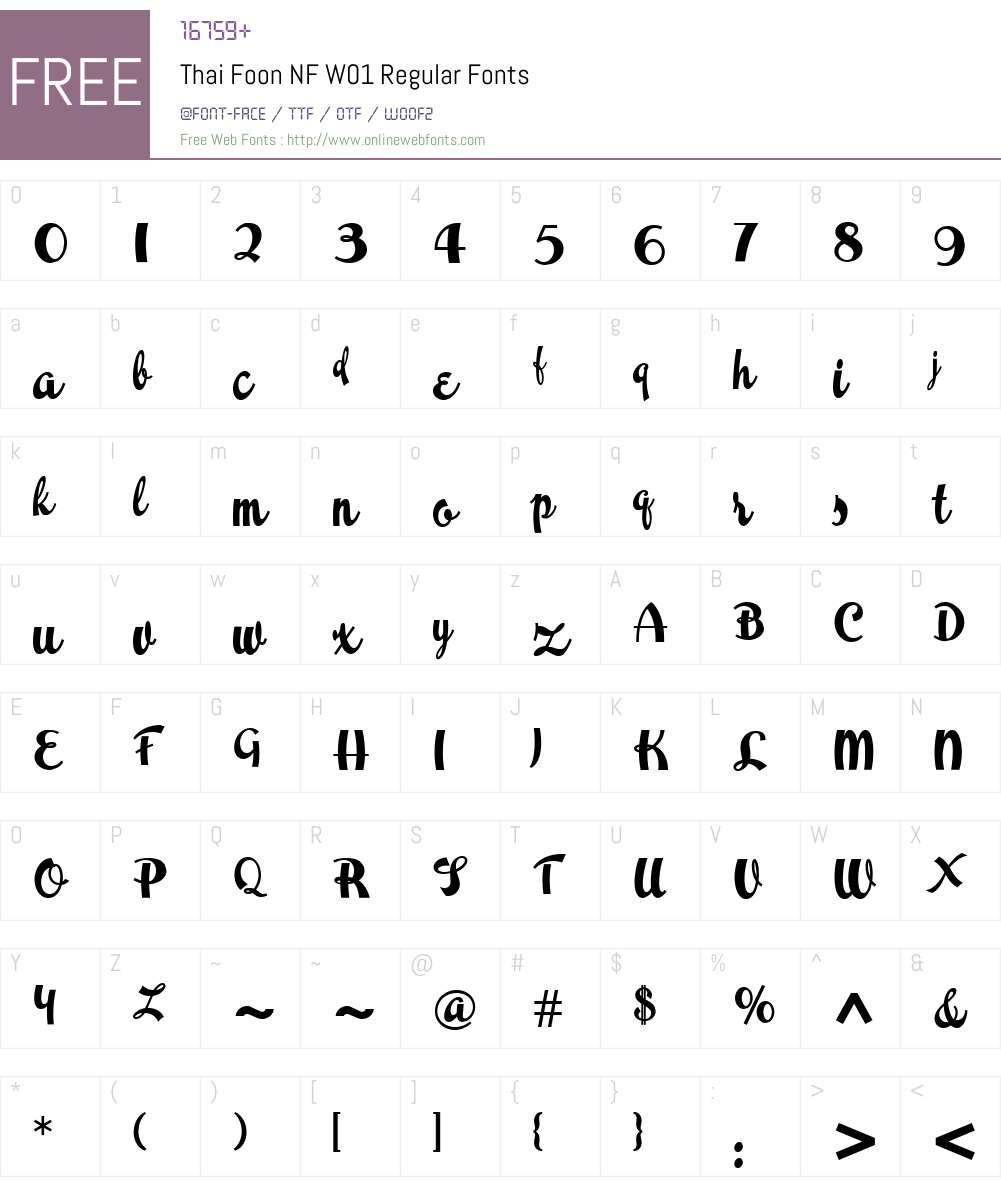 ThaiFoonNFW01-Regular Font Screenshots