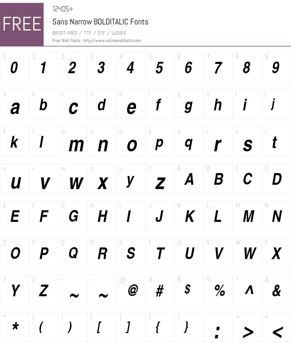 Sans Narrow Font Screenshots