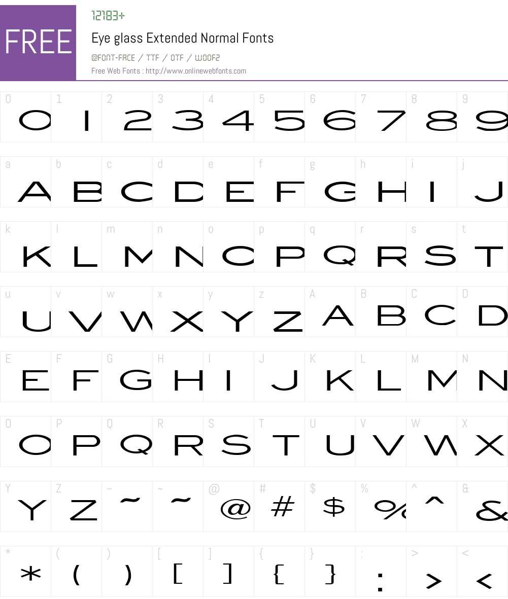 Eye glass Extended Font Screenshots