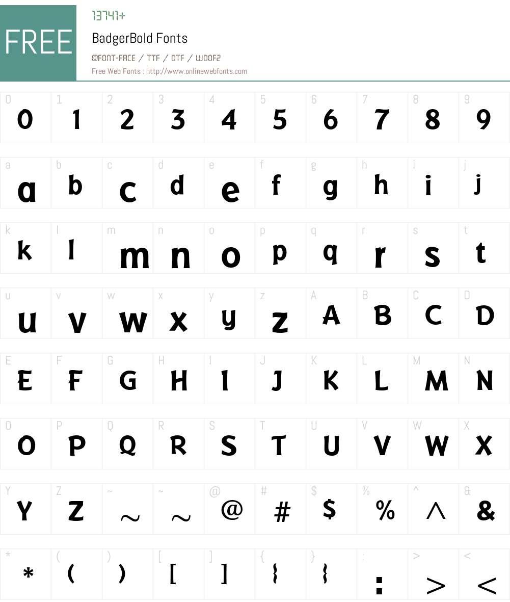 BadgerBold Font Screenshots