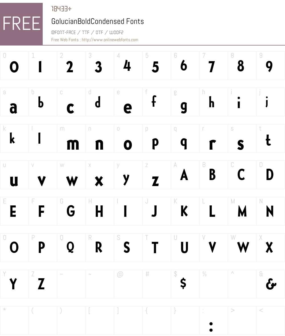GolucianBoldCondensed Font Screenshots