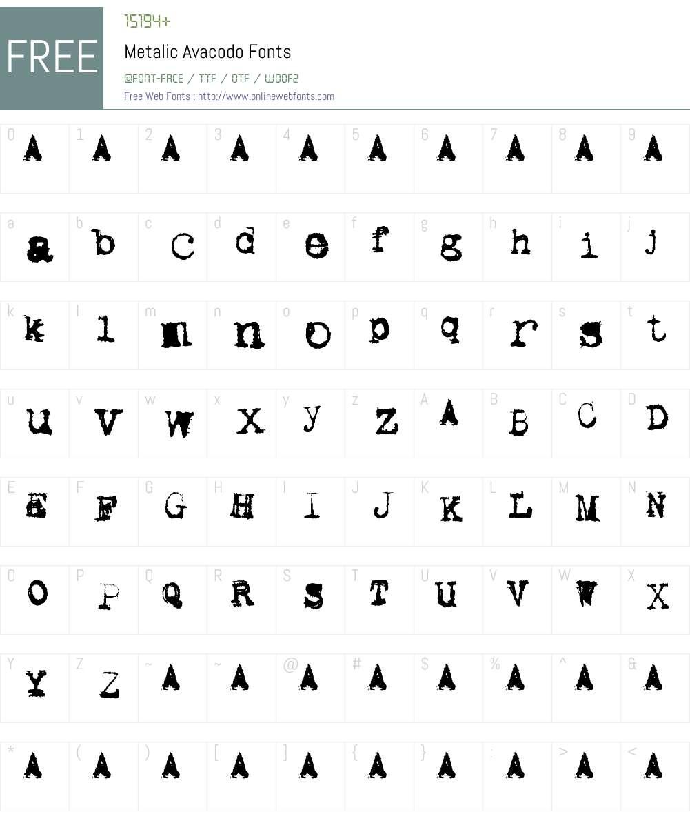 Metalic Avacodo Font Screenshots