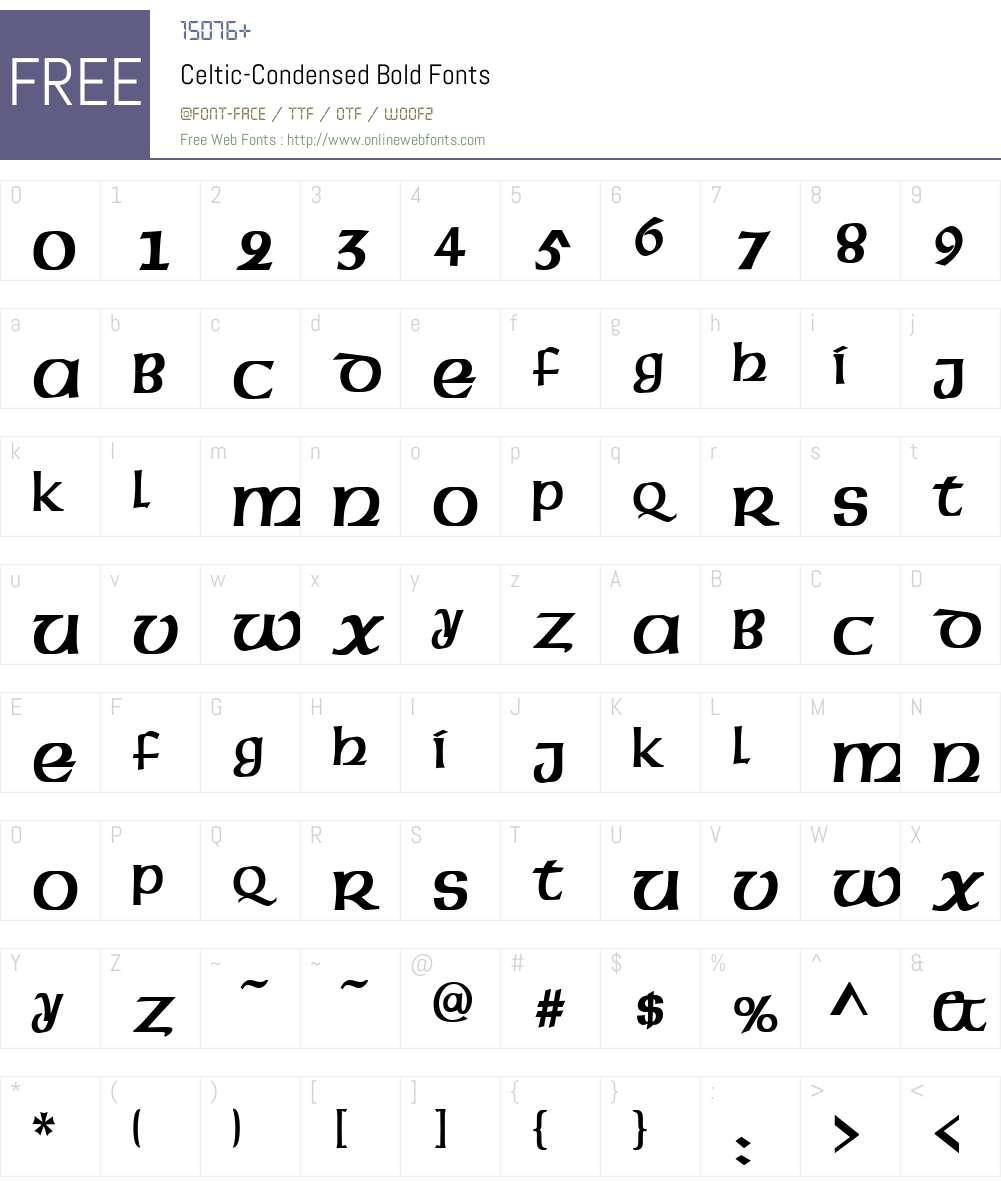 Celtic-Condensed Font Screenshots
