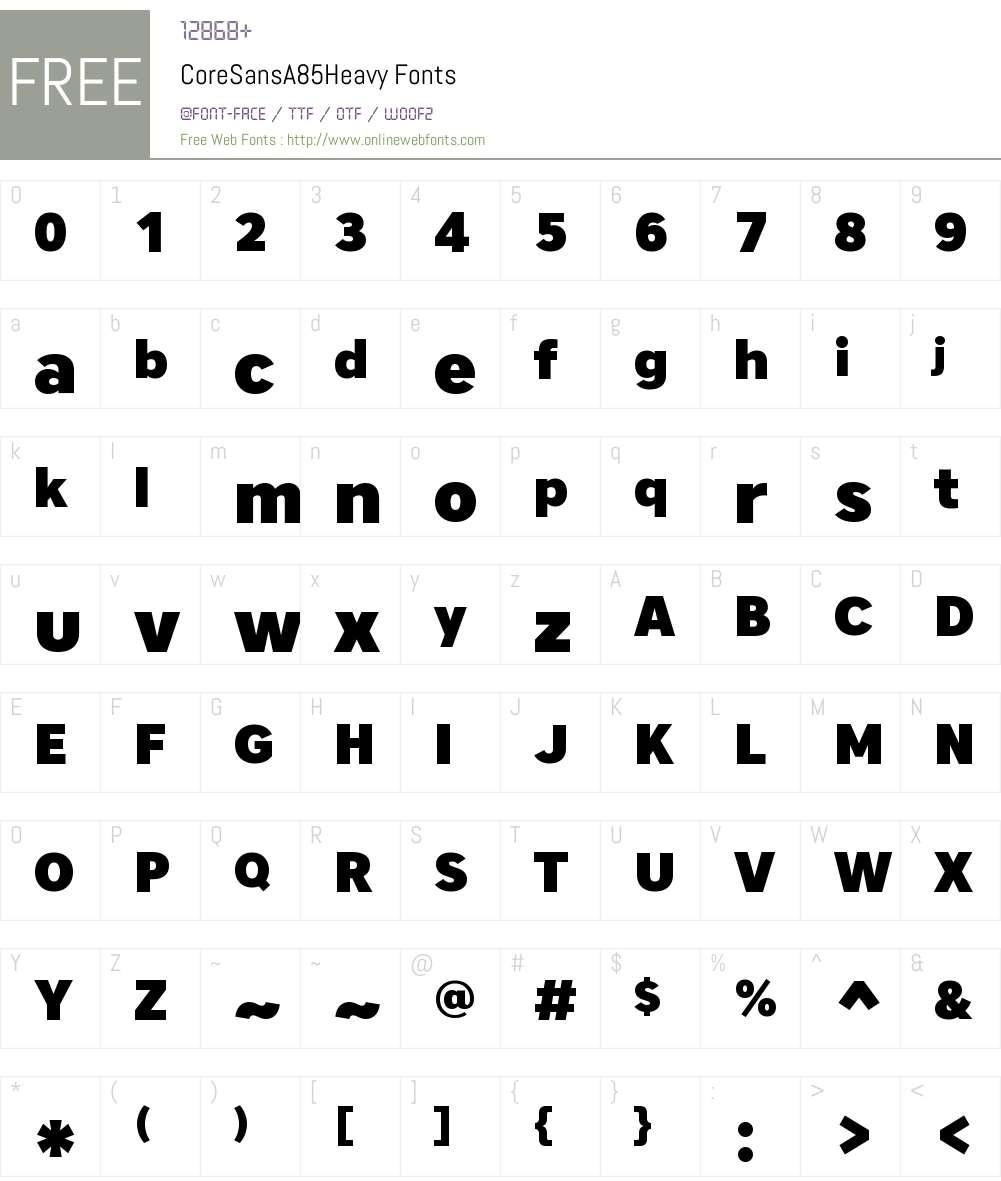 Core Sans A 85 Heavy Font Screenshots