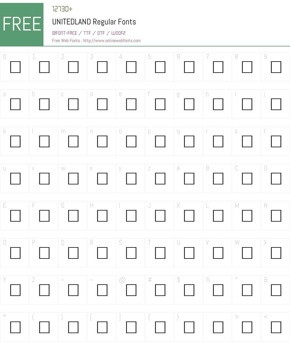 UNITEDLAND Font Screenshots