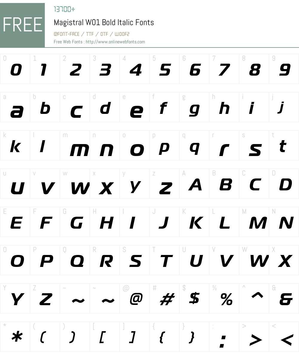 MagistralW01-BoldItalic Font Screenshots