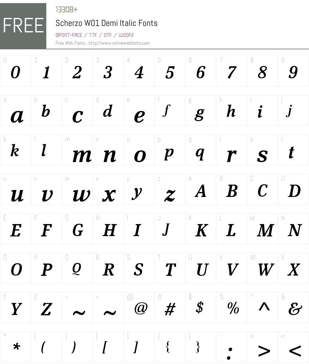 ScherzoW01-DemiItalic Font Screenshots