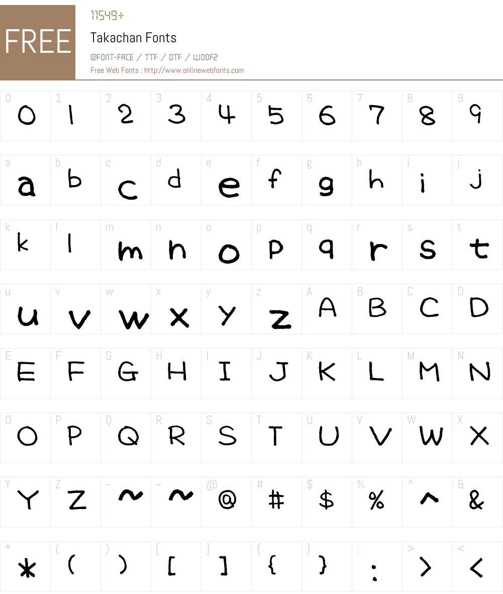 Takachan Font Screenshots