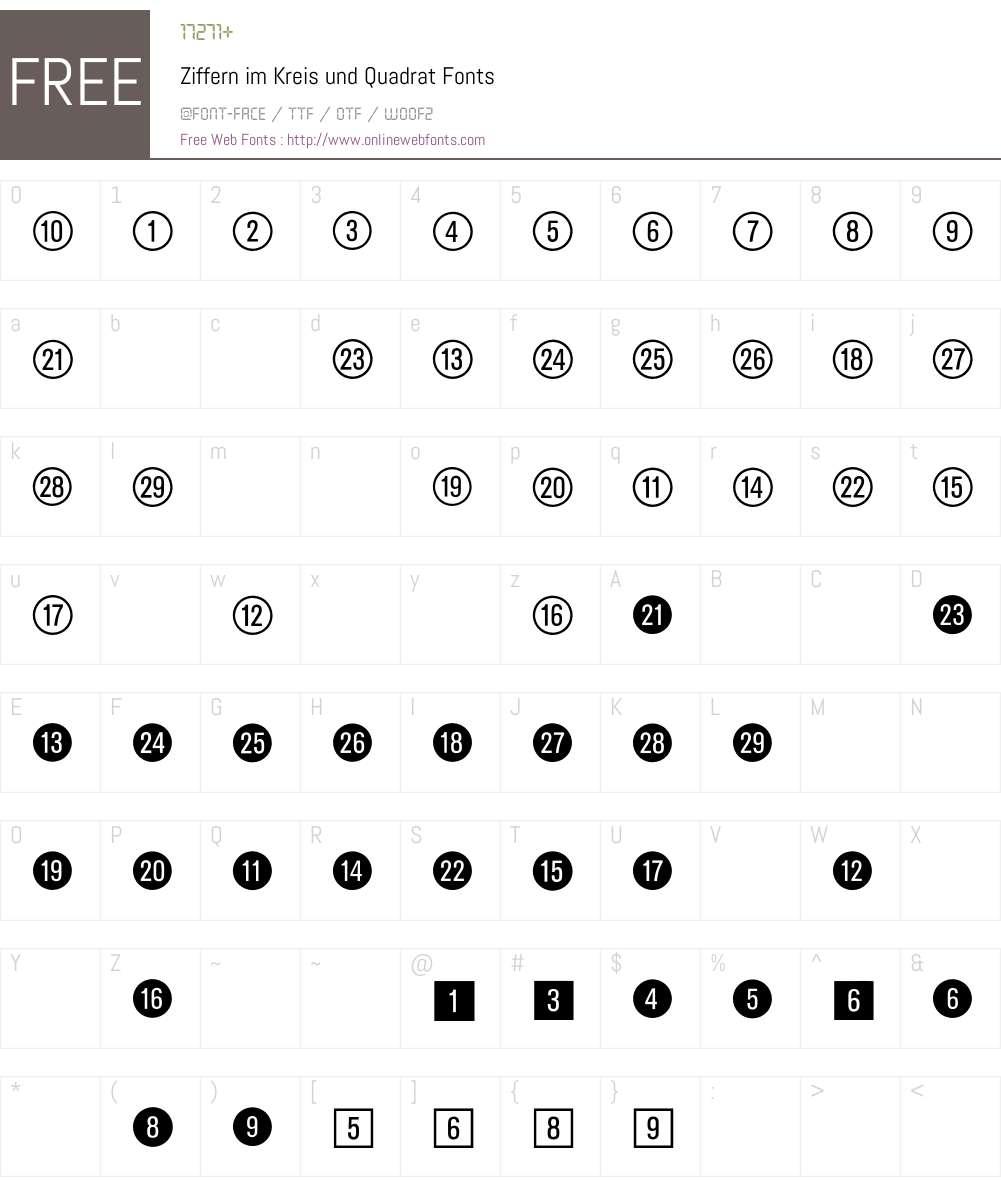 Ziffern im Kreis und Quadrat BQ Font Screenshots
