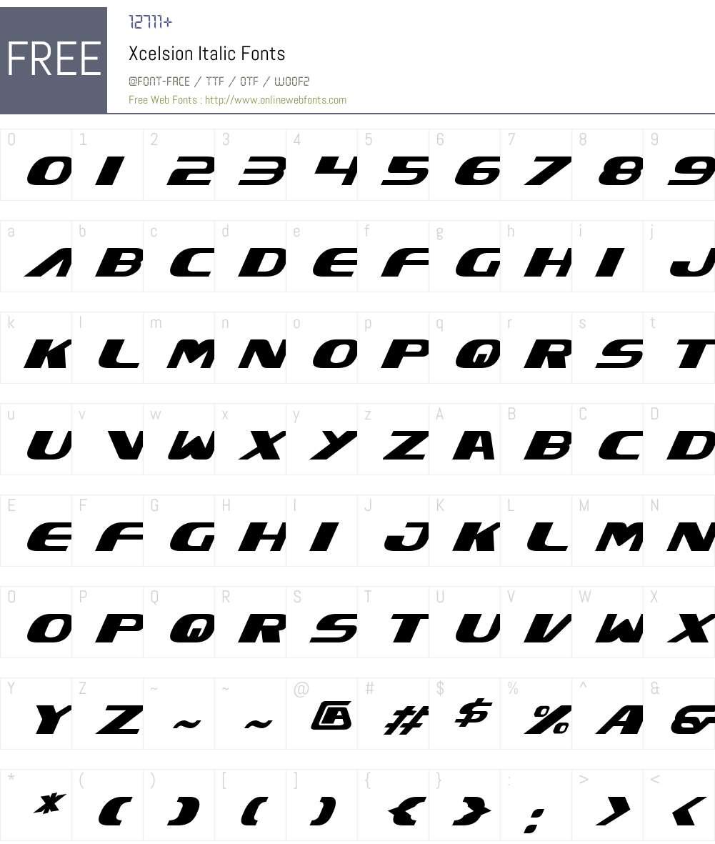 Xcelsion Italic Font Screenshots