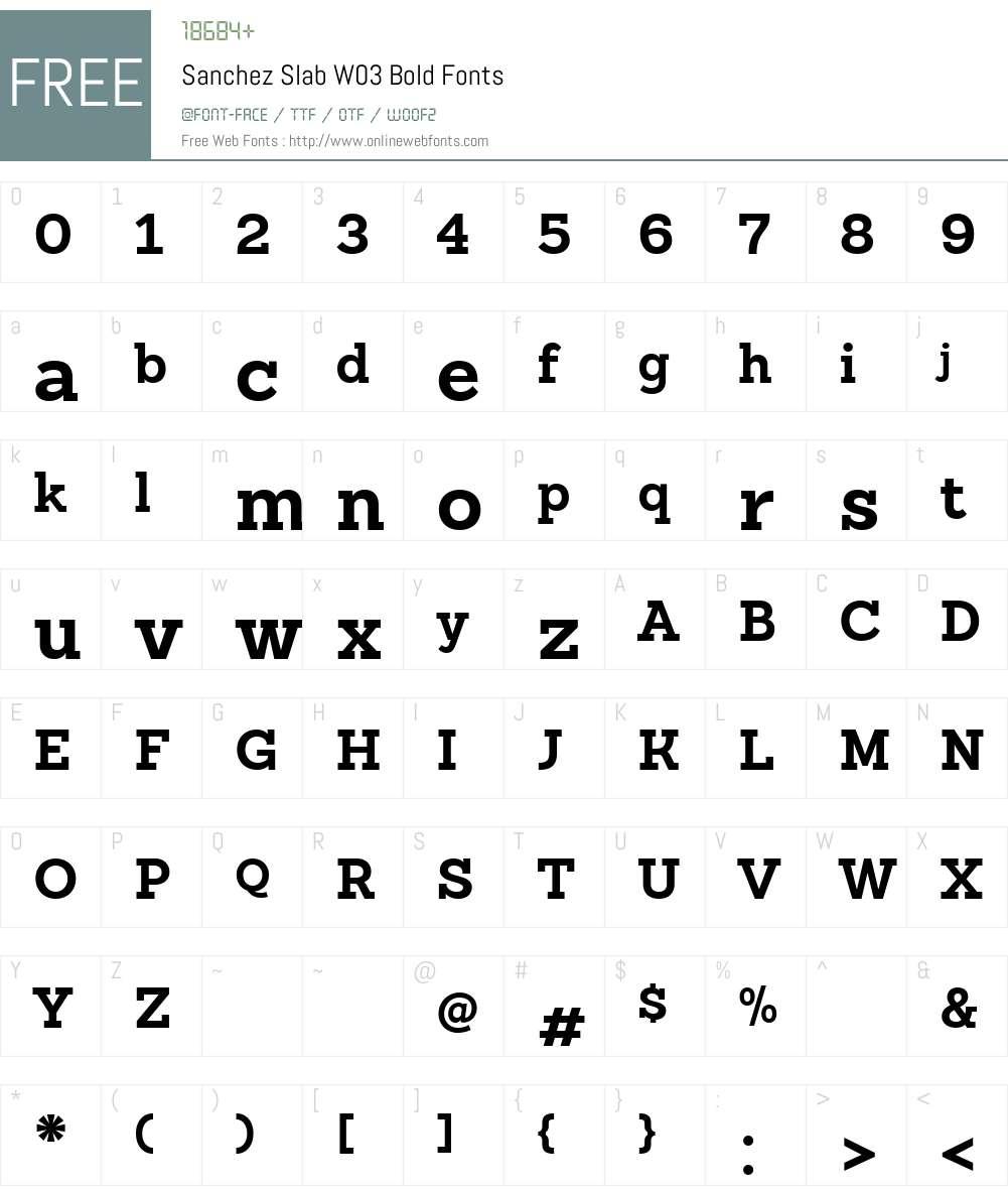 SanchezSlabW03-Bold Font Screenshots